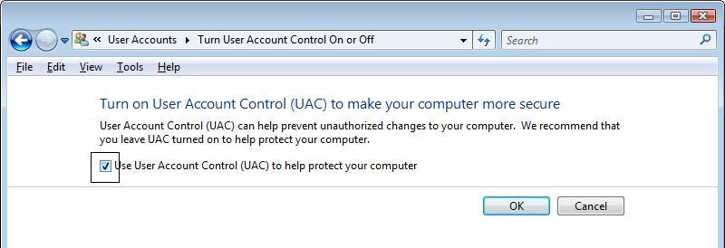 Turn on or Off UAC